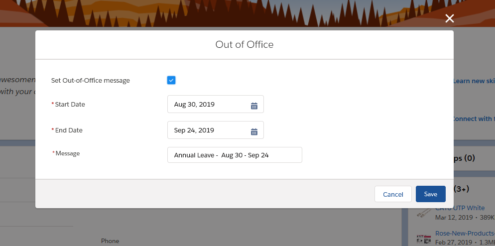 How to Enable Out of Office Message in Salesforce Lightning Experience