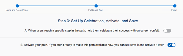 Salesforce Path creation step