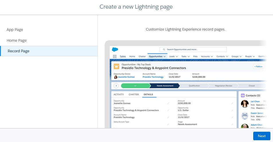 create a Lightning App builder