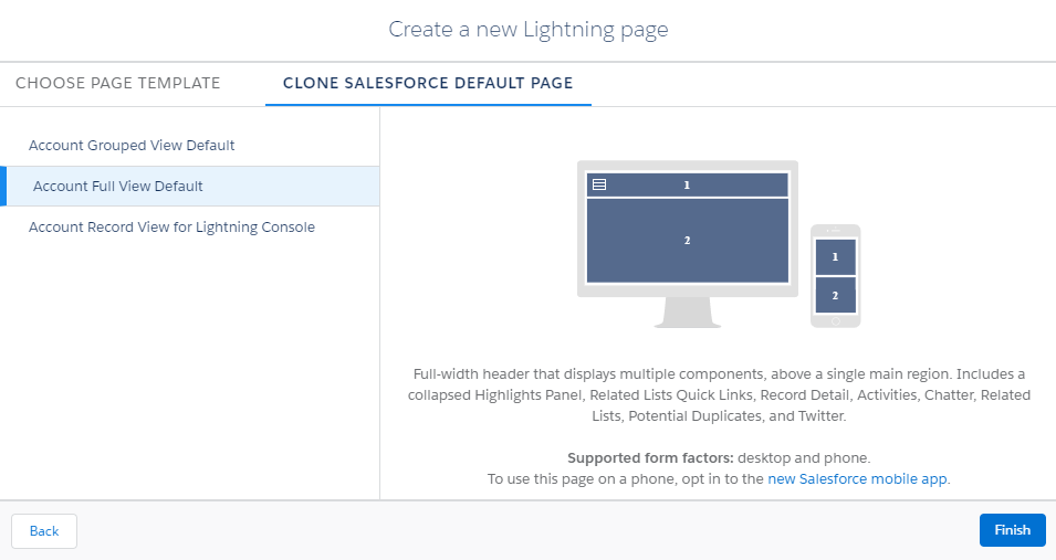 Create New Lightning Page with Full View