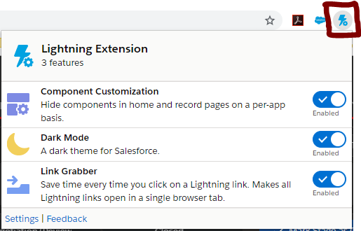 Salesforce Dark Mode Google Chrome Extenction