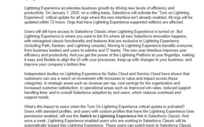 Turn on Lightning Experience for Selected Editions (Critical Update)
