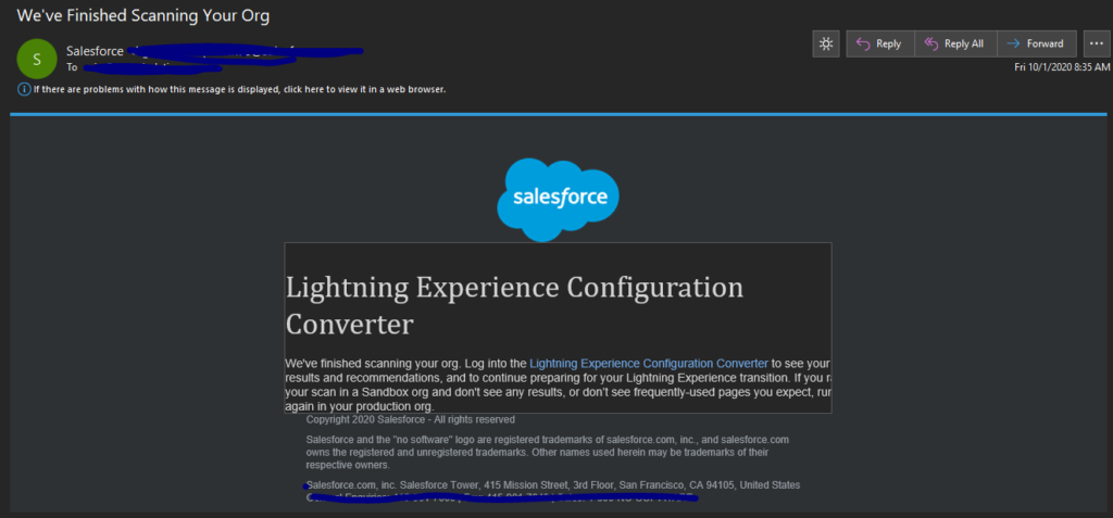 Lightning Experience Configuration Converter Tool Result y Email