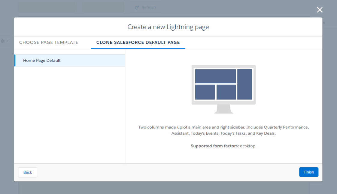 Create a new Lightning home page