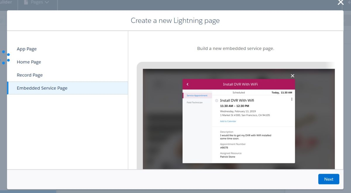 New Lightning Page - Embedded Service Page