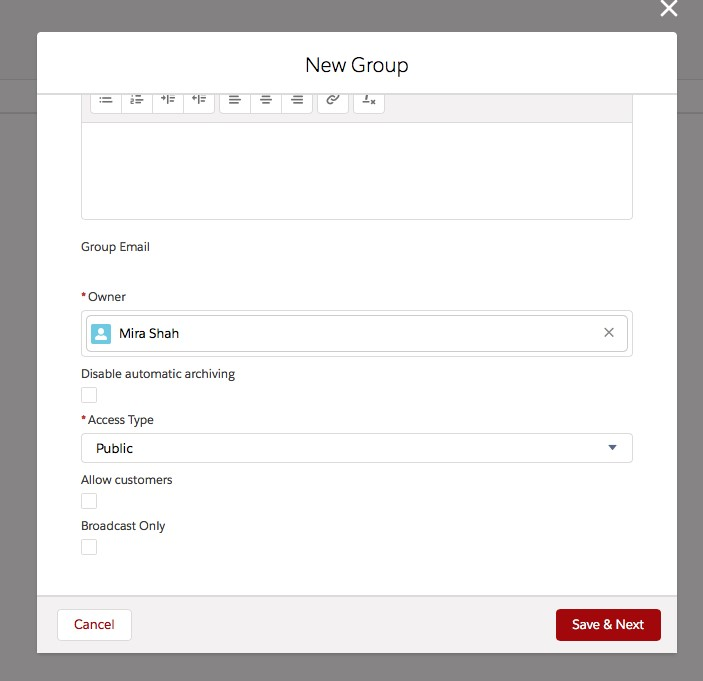 Create a Public Chatter Group