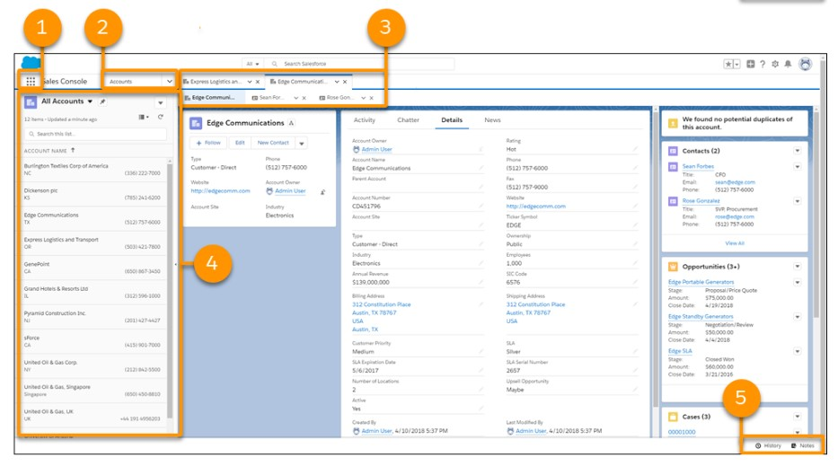 Salesforce Console in Lightning Experience Tab