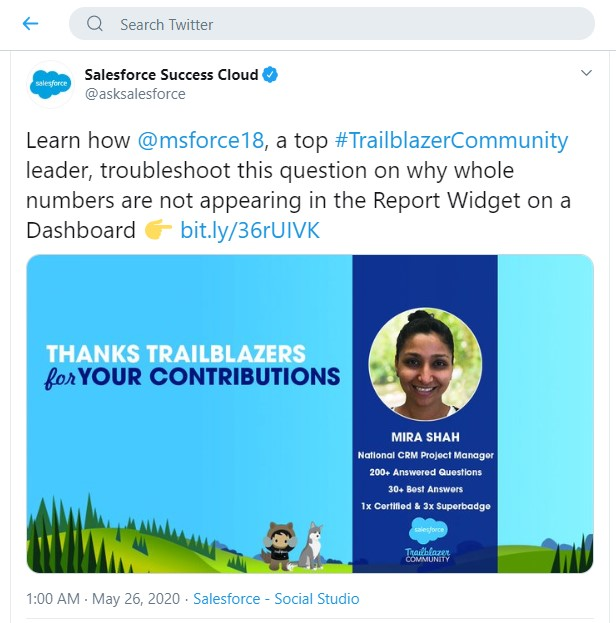 Top Salesforce Success community contributor Twitter